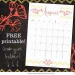 August Calendar Free Printable Download!