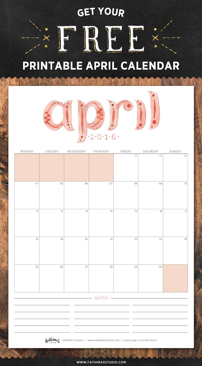 fathima's studio april 2016 free printable calendar