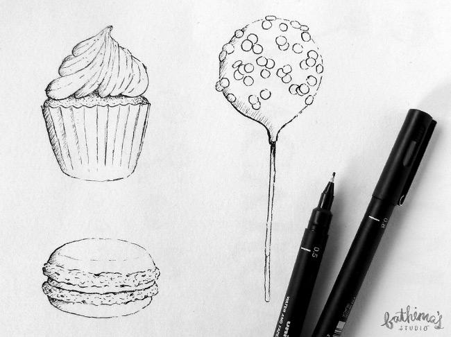 Madame Macaron Logo Design - hand drawn illustration