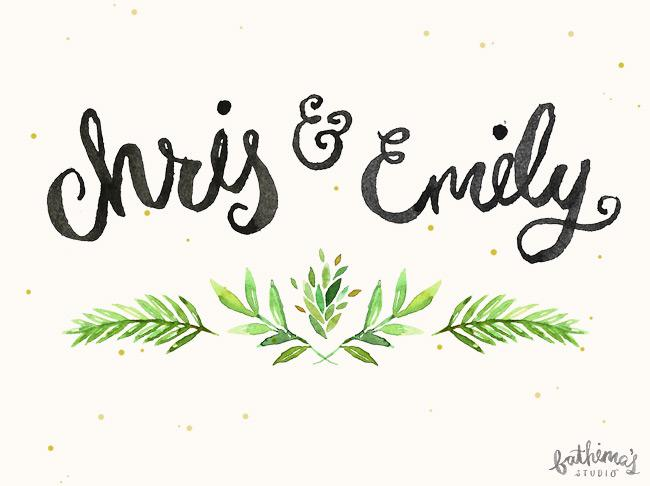 Hand lettered watercolour wedding stationery