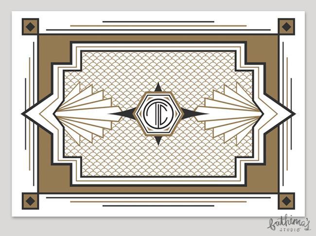 Great Gatsby art deco themed wedding stationery