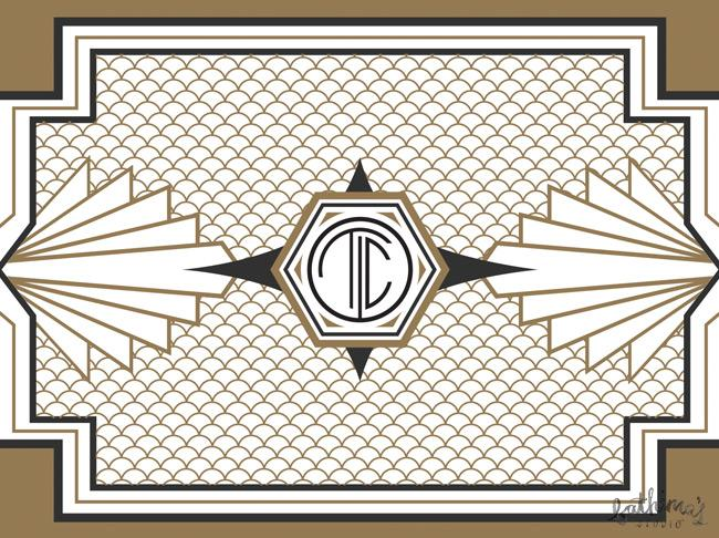 great gatsby art deco wedding stationery
