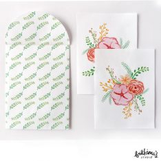 botanical mini notecard and envelope