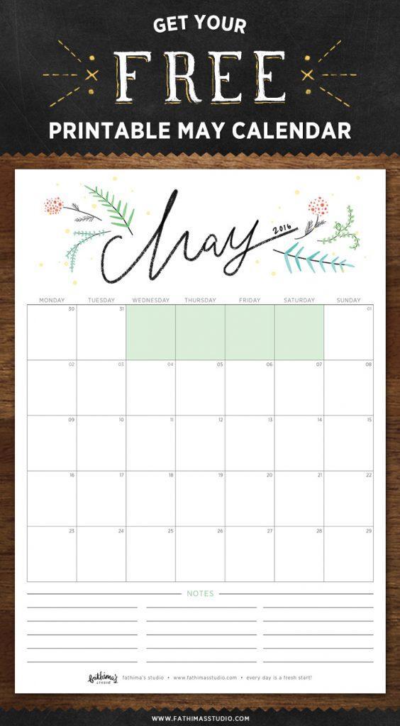 May 2016 free printable calendar planner