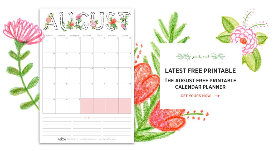 August 2016 Free Printable Calendar Planner
