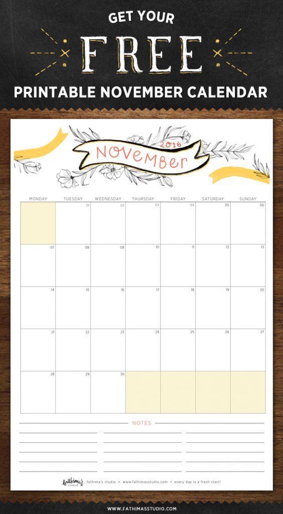 November 2016 Free Printable Calendar Planner