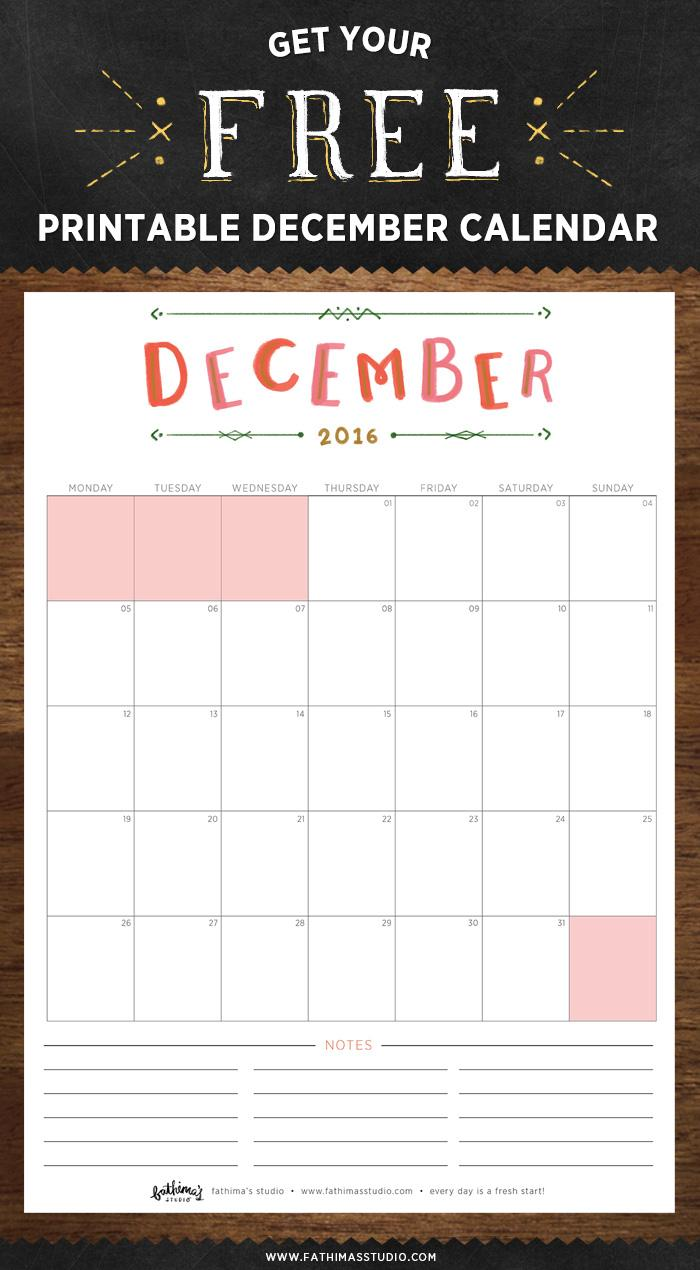 fathimas studio december calendar 2016 download fathimas studio free printable