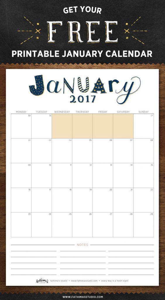 January 2017 Free Printable Calendar Planner
