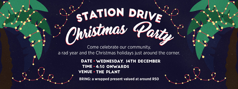 Tomfoolery Station Drive Christmas Party Poster
