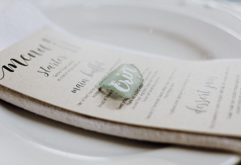 Fathima's Studio - Hand lettering for Wedding Sea Glass Place Cards