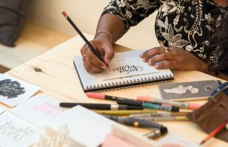 Fathima's Studio Live Lettering at Skyline Coffee Big Box Co HQ Opening